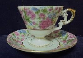 Porcelain pedestal Demitasse cup/saucer #124 Mauve Roses/Green flowers - $24.98