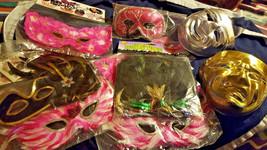 14PC Mardi Gras Masks Pink Black Sequin Feather Mara Criste Masquerade Nw Many - $79.20