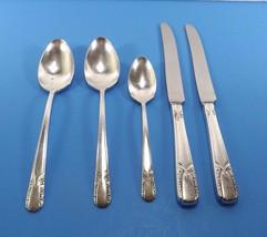 Rogers Talisman Silver Plate Lot 2 Dinner Knives 2 Oval Soup Spoons 1 Teaspoon - $16.99