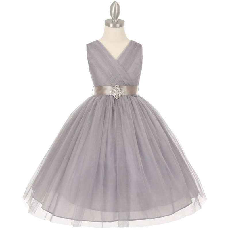White Crystal Tulle V-Neck Pleated Style Rhinestone Pin Party Flower Girl Dress