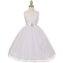 White Crystal Tulle V-Neck Pleated Style Rhinestone Pin Party Flower Gir... - $48.00