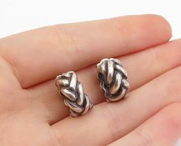 925 Sterling Silver - Vintage Dark Tone Braided Design Huggie Earrings -... - $34.58