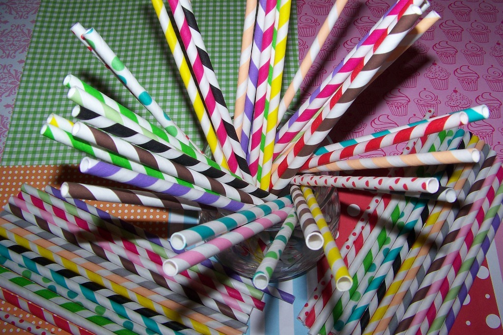 50 Purple & White Stripe Paper Party Straws