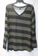 New Womens Plus Size 3X Olive Green & Black Wide Striped Long Sleeve Vneck Shirt - $17.41