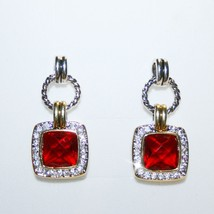 Two Tone Red Garnet Quartz White Diamond Alternatives Dangle Earrings 35... - $29.39