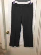 Ann Taylor Loft Petites gray wool pants 10P pink striped Career Lined B2 - $17.32