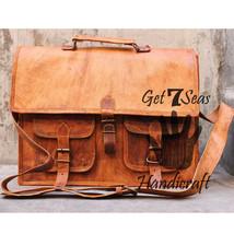 Leather computer bag men's shoulder women messenger laptop briefcase vin... - $58.49