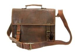 Leather computer bag men's shoulder laptop vintage women satchel briefca... - $52.75