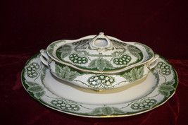 Vtg 3 pc Art Nouveau YORK COVERED DISH Tureen Flow Blue platter Mayers P... - $123.75