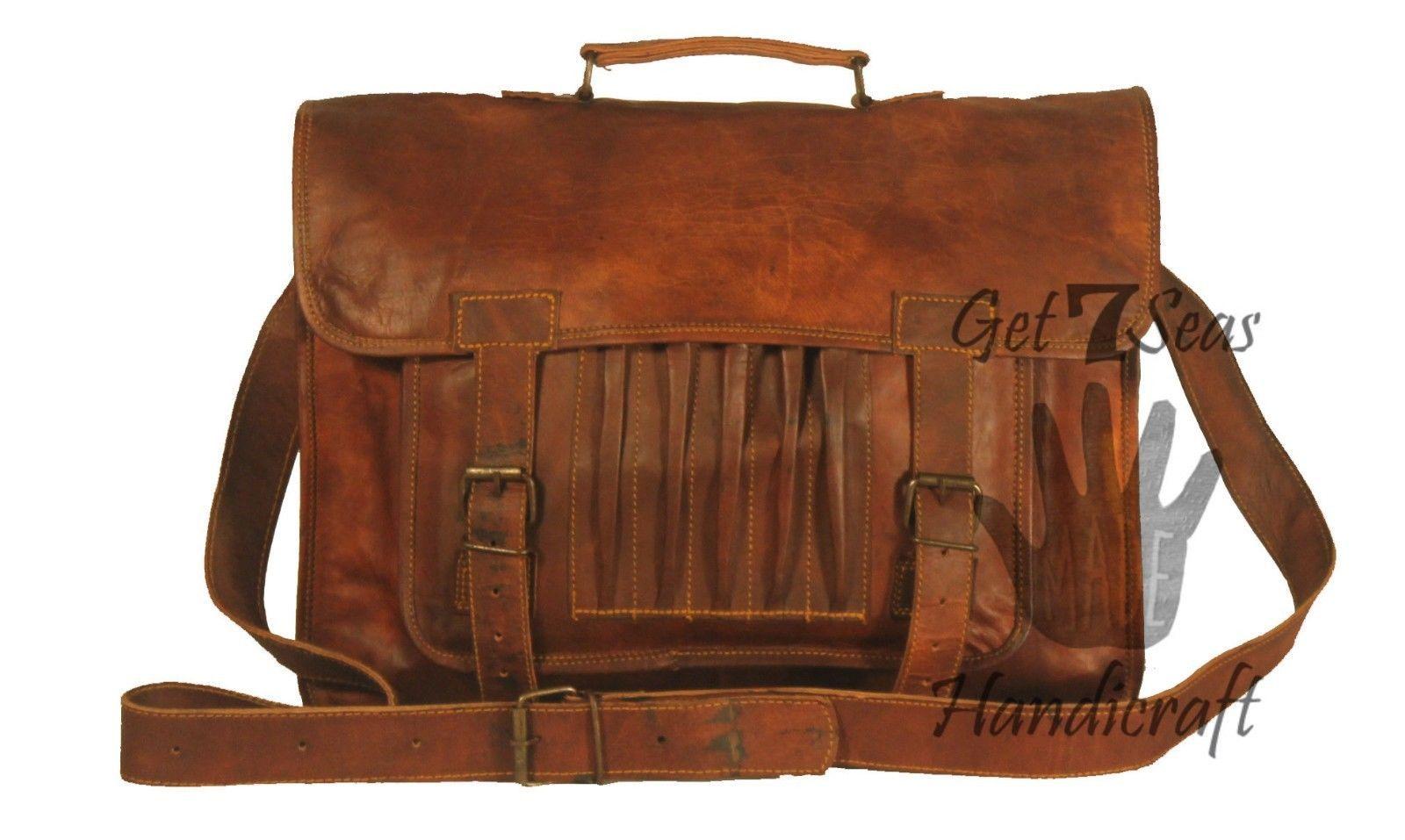 Leather computer bag men's shoulder laptop women briefcase vintage messenger