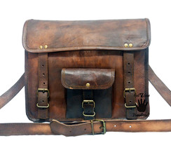 Leather computer bag men's shoulder laptop women messenger satchel men v... - $51.68