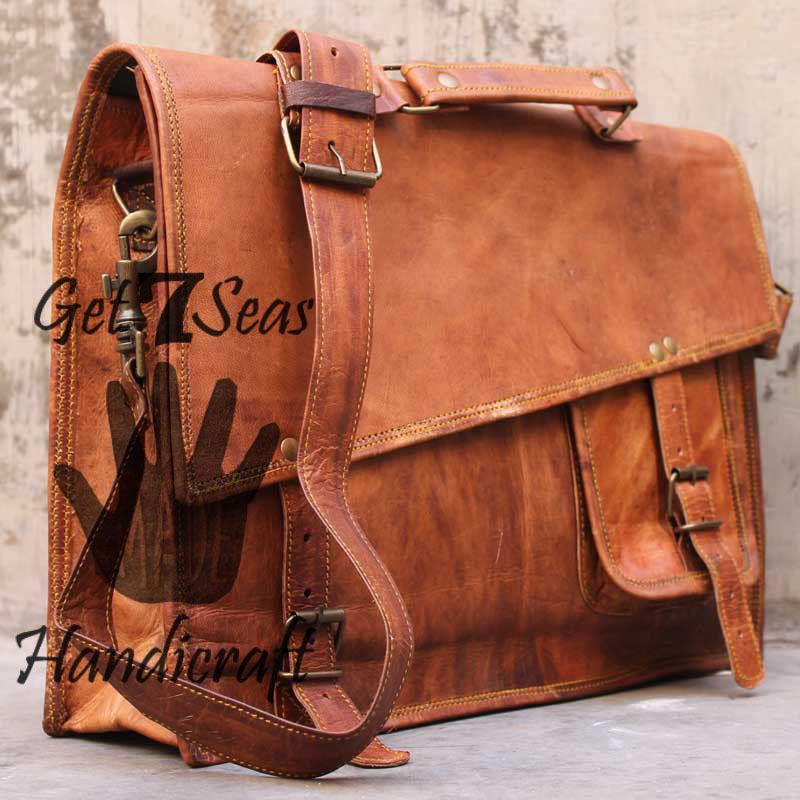 Messenger bag leather men's shoulder laptop women satchel vintage briefcase bags
