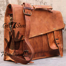 Messenger bag leather men's shoulder laptop women satchel vintage briefc... - $59.00