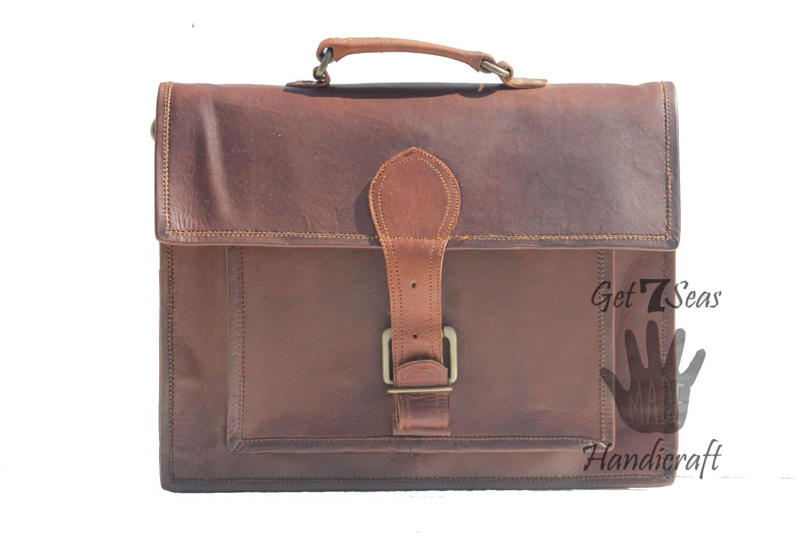 Messenger bag leather men's laptop women shoulder satchel briefcase vintage bag image 1