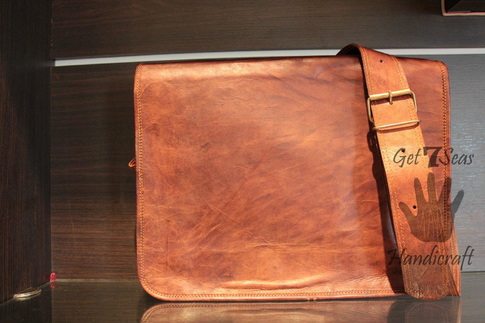 Leather satchel men's shoulder laptop women messenger men briefcase  brown bags
