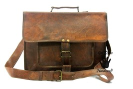Leather messenger bag men's shoulder satchel women briefcase men laptop ... - $54.28