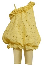 Bonnie Jean Baby Girl 3M-24M Yellow Eyelet Asymmetric Bubble Dress/Legging Set