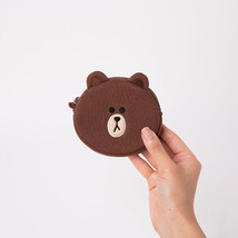 LINE Friends BROWN Mini Face Coin Purse Wallet Character Pouch Bag Acc Gift - €15,63 EUR