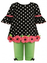 Bonnie Jean Baby Girl 3M-24M Polka Dot Bell Sleeve Button-Flower Border Legging