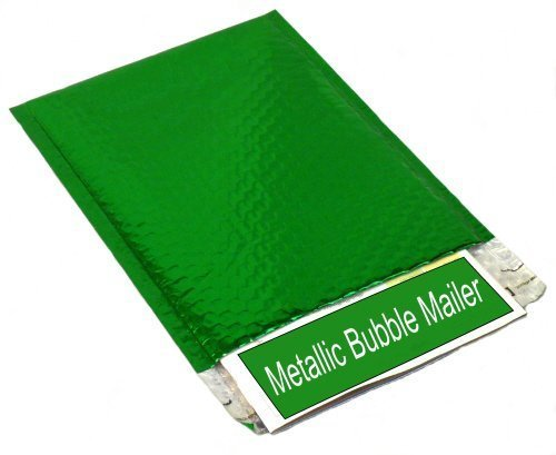 Metallic Glamour Bubble Mailers Padded Shipping Mailing Envelopes Bags Green - 1