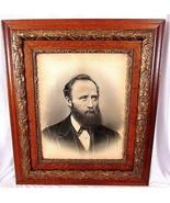 Portrait Gesso Wood Picture Frame Large 30 x 26 Beard Man Antique Vintage  - $287.07