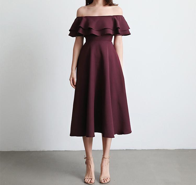 Bridemaid midi dress flounces 12