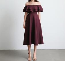 Women Off Shoulder Chiffon Midi Cocktail Dress, Burgundy Dark Green Blush White image 1