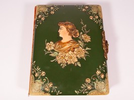 Antique Vintage Celluloid Album-Embossed Woman on Green-1900 Inscribed-F... - $77.14