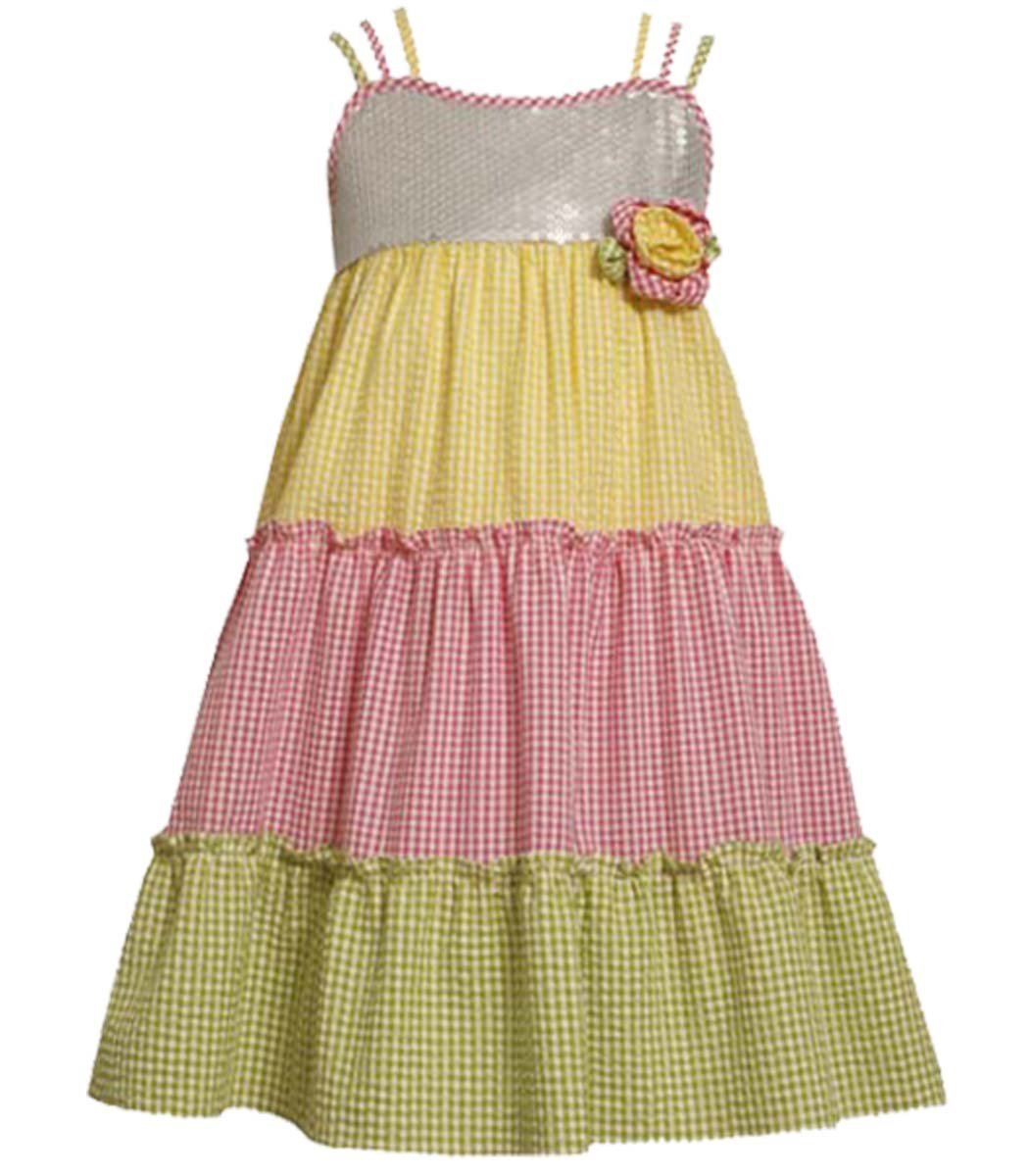 Big Girl Tween 7-16 Trile Strap Sequin Colorblock Tier Dress, Bonnie Jean
