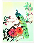 Wheat Stalk On Silk Peacock Art Hand Cut And Painted Vintage Free Shipping - $17.81