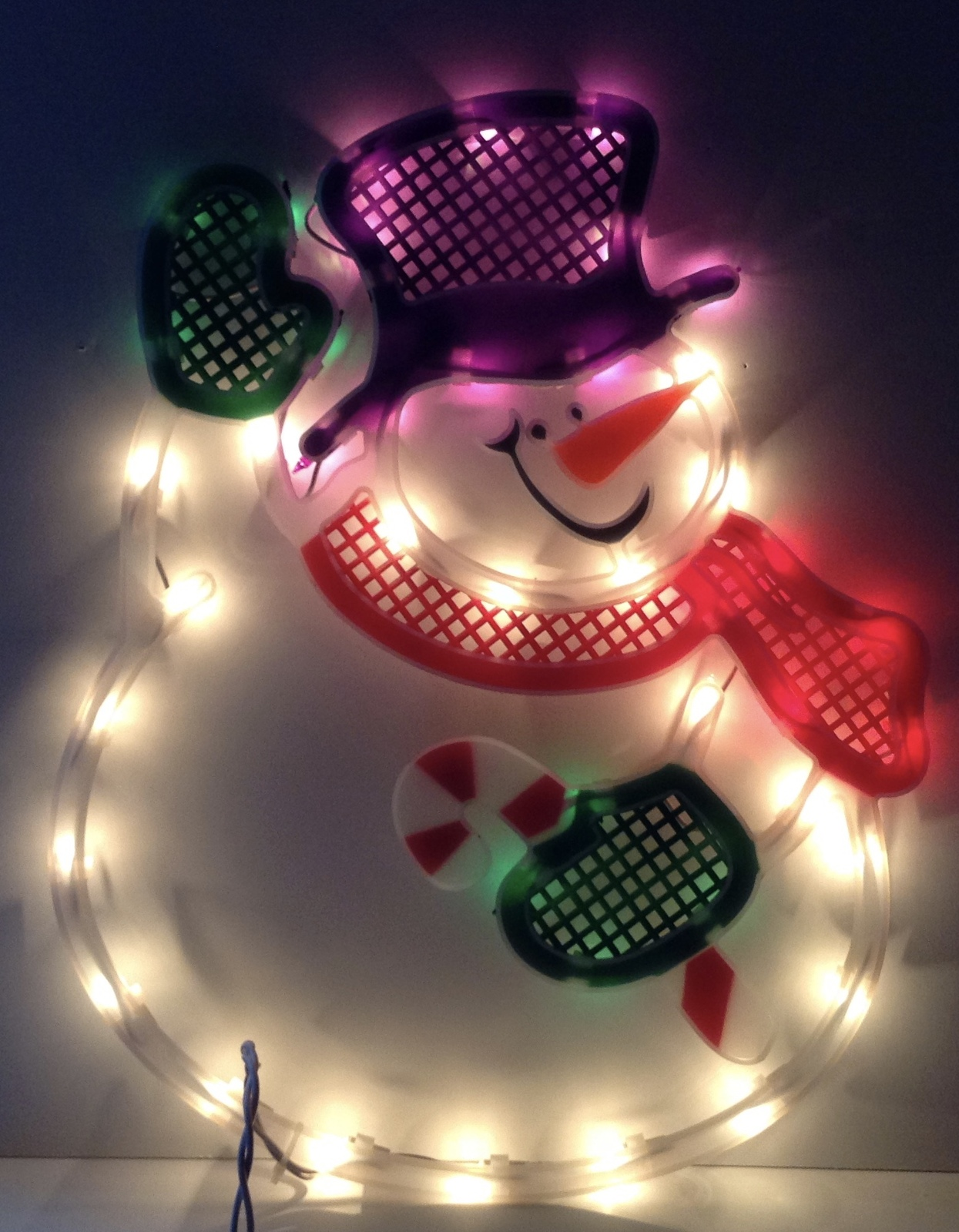 Christmas waving snowman lighted window decoration indoor