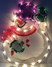 Christmas WAVING SNOWMAN Lighted Window Decoration Indoor / Outdoor Use NEW image 2