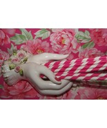25 Hot Pink & White Paper Drinking Straws...Retro Party Straws.. - $5.99