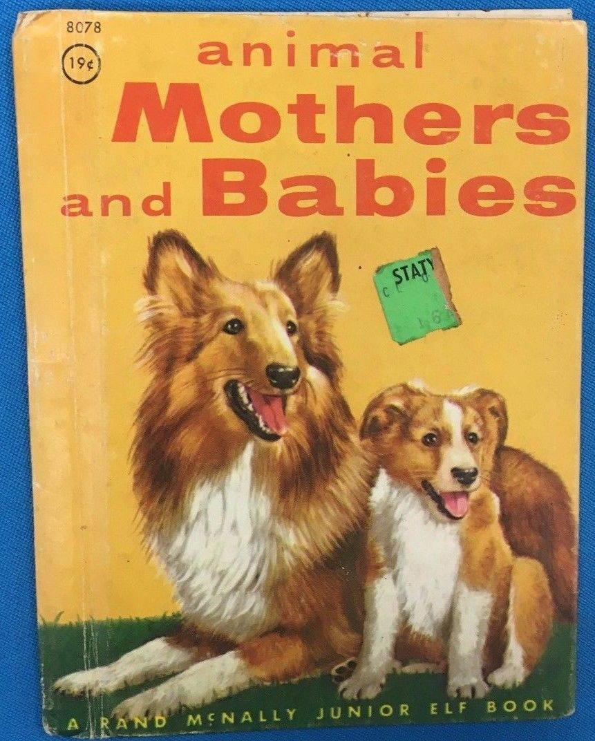 ANIMAL MOTHERS AND BABIES (1956) Rand McNally Junior Elf Book color HC
