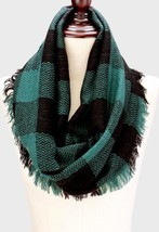 Women's Black & Green Buffalo Plaid Woven Infinity Scarf W312127 - £12.23 GBP