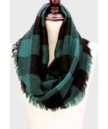 Women's Black & Green Buffalo Plaid Woven Infinity Scarf W312127 - £11.83 GBP