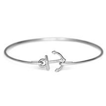 Thin Band Silver Sailor's Anchor Bracelet, Silver Plated Anchor Bangle B... - $7.00
