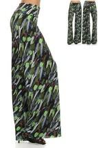 Rain Forest Print Green Full Length Palazzo Pants Wide Fold Over Waistband - $14.50