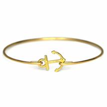 Thin Band Gold Sailor's Anchor Bracelet, Gold plated Anchor Bangle Bracelet - $7.00