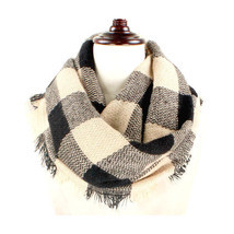 Women's Beige & Black Buffalo Plaid Woven Infinity Scarf W312126 - £6.83 GBP