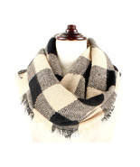 Women's Beige & Black Buffalo Plaid Woven Infinity Scarf W312126 - $9.50