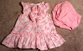 Girl's Size 3-6 M Months 2 Pc Pink Ruffled Maggie & Zoe Butterfly Dress ... - $16.00