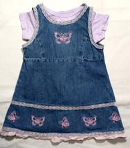 Girl's Size 24 M 18-24 Months Blue Denim Butterfly WonderKids Dress & Gerber Top - $17.00