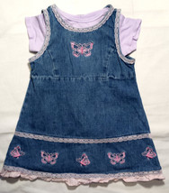 Girl's Size 24 M 18-24 Months Blue Denim Butterfly WonderKids Dress & Ge... - $17.00