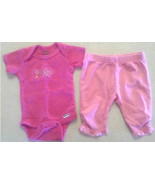 Girl's Sz NB Newborn 2 Pc Outfit Pink Butterfly & Flower Top & Leggings ... - $13.50