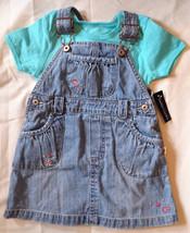 Girl's Size 12-18 M Months 2 Piece Blue Denim OshKosh Floral Dress + Blue Top - $10.50