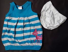 Girl's Size 12-18 M Months Blue/Gray Striped Deer Designed Circo Dress & Gray DC - $11.50