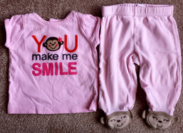Girl's Size 3 M Months Carter's Pink You Make Me Smile Monkey Top & Foot... - $13.00