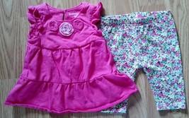 Girl's 2 Piece Outfit Size 3M Osh Kosh Pink Floral Top & Capri Legging P... - $17.00