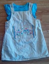 Girl's Size 24 M Months 2 Pc Khaki Floral Lydia Jane Dress & Blue Carter's Top - $17.50